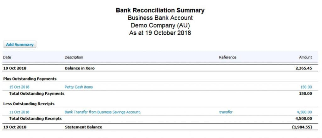 Xero Reconciliation Report
